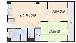 JR山陽本線 五日市駅 徒歩10分の賃貸マンション 4階2LDKの間取り