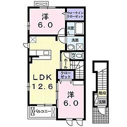 ルガルボニート II 1階2LDKの間取り