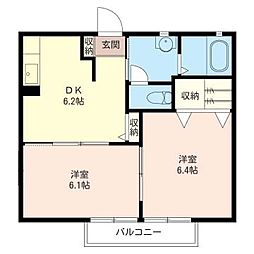 メビュース駅東通りII[2階]の間取り