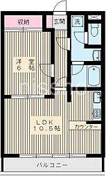 434−ベルヴィ丸山[102号室]の間取り