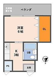 Osaka Metro御堂筋線 中津駅 徒歩6分の賃貸マンション 4階1Kの間取り