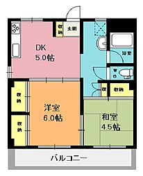 けんこうマンション[401号室]の間取り