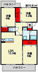 クレールコパンII[203号室]の間取り