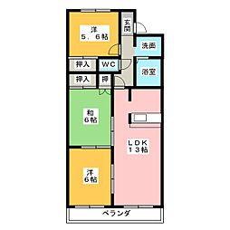 クレスト広田[2階]の間取り