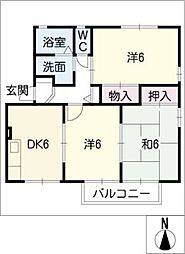 ハイカムール山本[2階]の間取り