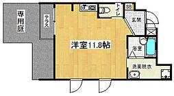 京阪本線 七条駅 徒歩8分の賃貸マンション 1階1Kの間取り