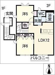 サンハイツ矢橋II 2階2LDKの間取り