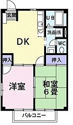 東京都東久留米市中央町5丁目の賃貸アパートの間取り