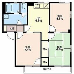 長野県須坂市大字小河原の賃貸アパートの間取り