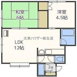 北海道札幌市北区新琴似五条12丁目の賃貸アパートの間取り