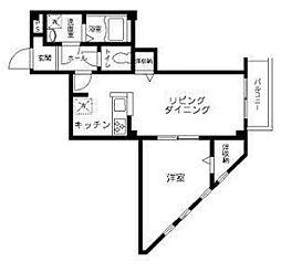 都営新宿線 船堀駅 徒歩25分の賃貸マンション 4階1LDKの間取り