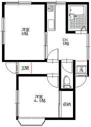 NISHIDAアパートメント[1階号室]の間取り