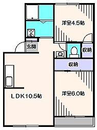 東京都西東京市緑町2丁目の賃貸マンションの間取り