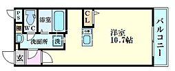 パークフロント福島 4階1Kの間取り