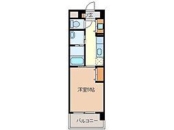 近鉄名古屋線 江戸橋駅 徒歩9分の賃貸マンション 4階1Kの間取り