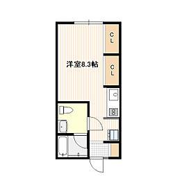 JR山陽本線 五日市駅 3.1kmの賃貸アパート 1階ワンルームの間取り