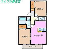 三重県桑名市新倉持の賃貸アパートの間取り