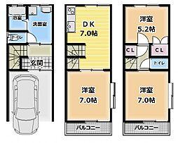 [一戸建] 大阪府門真市石原町 の賃貸【/】の間取り