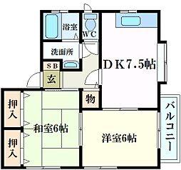 兵庫県西宮市松ケ丘町の賃貸アパートの間取り
