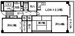 レジデンス岸和田[102号室]の間取り