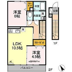 瀬谷区阿久和西3丁目 ウェストグランツI205号室[2階]の間取り