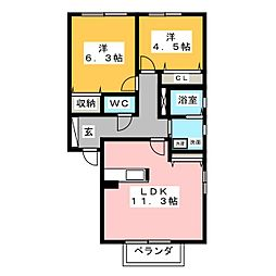 フォーリーブスB[1階]の間取り