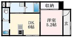 近鉄南大阪線 藤井寺駅 徒歩5分の賃貸アパート 1階1DKの間取り