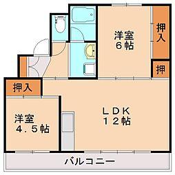 ビレッジハウス伊川1号棟[5階]の間取り