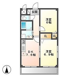 シャトー崎[1階]の間取り