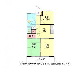 愛知県小牧市大字小牧原新田の賃貸マンションの間取り