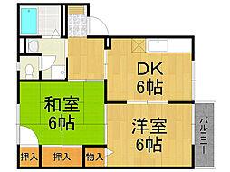 兵庫県西宮市下大市西町の賃貸アパートの間取り