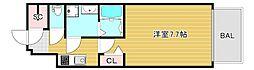 レオンコンフォート大阪ドームシティ 8階1Kの間取り