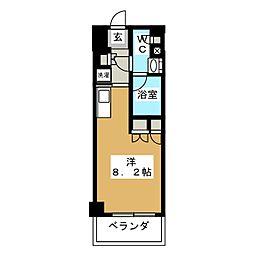 パークアクシス横濱大通り公園 5階ワンルームの間取り
