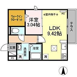JR東海道本線 大垣駅 徒歩8分の賃貸アパート 1階1DKの間取り