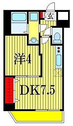 ウイリアムV 4階1DKの間取り
