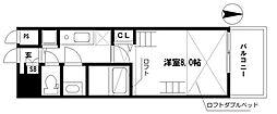 EARTHMANS OSAKA-JO 12階1Kの間取り