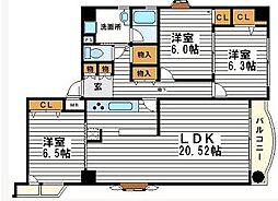 ピアグランデ順慶町[3階]の間取り