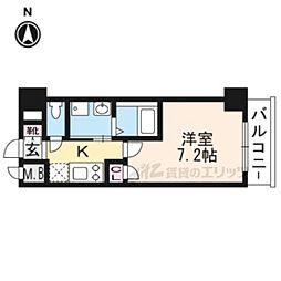 阪急京都本線 西京極駅 徒歩22分の賃貸マンション 3階1Kの間取り