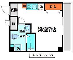 エムロード日吉 6階ワンルームの間取り