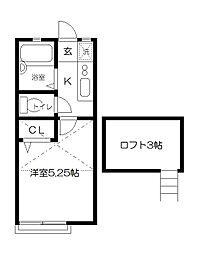 東京都府中市日新町2丁目の賃貸アパートの間取り