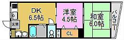 三国ヶ丘コーポ[2階]の間取り