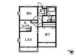 埼玉県八潮市西袋の賃貸アパートの間取り