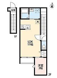 仙台市地下鉄東西線 六丁の目駅 徒歩10分の賃貸アパート 2階1LDKの間取り