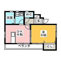 カーサフィオーレ東古松[1階]の間取り