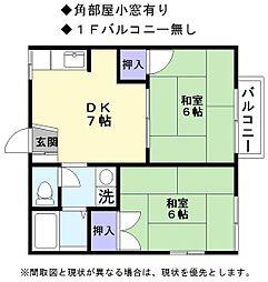 JR東海道・山陽本線 稲枝駅 徒歩8分の賃貸アパート 1階2DKの間取り