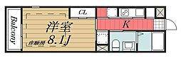 JR総武線 稲毛駅 徒歩6分の賃貸マンション 1階1Kの間取り