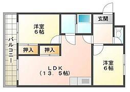マンション堂本[4階]の間取り