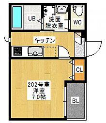 広島県広島市東区曙1丁目の賃貸アパートの間取り