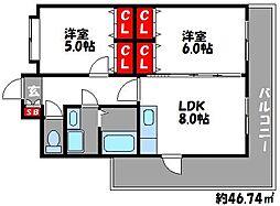 ボンシャンス[6階]の間取り