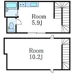 JR中央本線 高円寺駅 徒歩12分の賃貸アパート 2階ワンルームの間取り